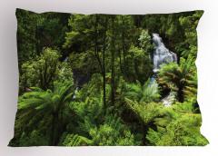 Ormandaki Şelale Temalı Yastık Kılıfı Yeşil Ağaç Doğa