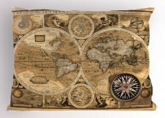 Dünya Haritası Temalı Yastık Kılıfı Antika Nostaljik