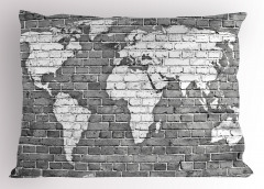 Klasik Dünya Haritası Yastık Kılıfı Antik