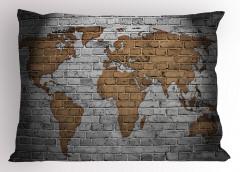 Dünya Haritası Temalı Yastık Kılıfı Tuğla Duvar Antika