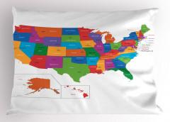 ABD Haritası Desenli Yastık Kılıfı Rengarenk Coğrafya