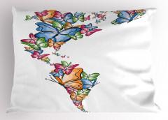 Kelebekler Atlası Yastık Kılıfı Rengarenk