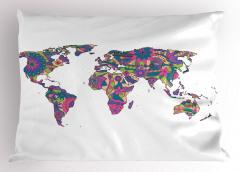 Rengarenk Harita Yastık Kılıfı Mor Pembe Çiçek