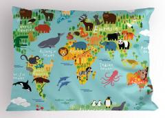Hayvan Haritası Desenli Yastık Kılıfı Çocuklar İçin