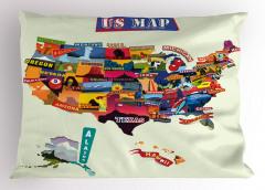 Rengarenk ABD Haritası Yastık Kılıfı Coğrafya