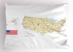 ABD Haritası Temalı Yastık Kılıfı Seyahat Severlere