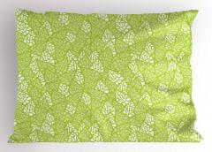 Bahar Temalı Yastık Kılıfı Yaprak Desenli Yeşil Şık