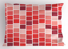 Kırmızı Kareli Yastık Kılıfı Geometrik Desenli Şık