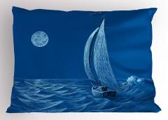 Ay Dalga ve Yelkenli Yastık Kılıfı Denizcilik