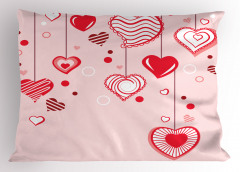Açık Pembe Fonlu Kalp Yastık Kılıfı Romantik