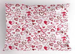 Pembe Kalp ve Ok Desenli Yastık Kılıfı Şık Çeyizlik