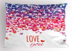 Seni Seviyorum Desenli Yastık Kılıfı Rengarenk Kalpli