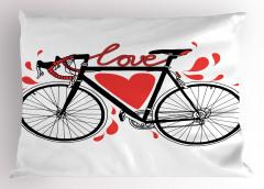 Aşk ve Bisiklet Desenli Yastık Kılıfı Kalpli Trend