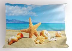 Deniz Yıldızı ve Plaj Yastık Kılıfı Bej Mavi