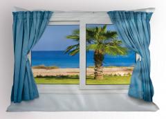 Pencere Deniz Manzaralı Yastık Kılıfı Beyaz Mavi
