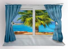 Pencere Deniz Palmiye Yastık Kılıfı Mavi