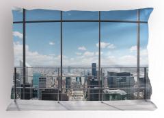Pencere ve Gökdelen Yastık Kılıfı Modern Dizayn