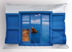 Kayalık Sahil Manzaralı Yastık Kılıfı Mavi