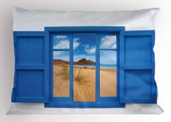 Pencerede Kumsal Deniz Yastık Kılıfı Mavi