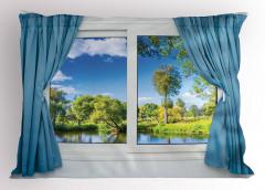Pencere Göl Manzaralı Yastık Kılıfı Mavi Yeşil
