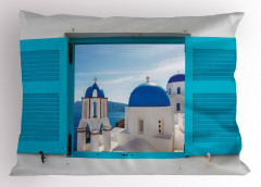 Evde Kilise Manzaralı Yastık Kılıfı Beyaz Mavi