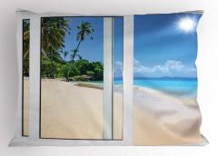 Kumsalda Güneşli Bir Gün Temalı Yastık Kılıfı Egzotik