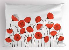 Gelincik Çiçeği Desenli Yastık Kılıfı Şık Tasarım