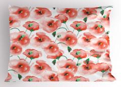 Gelincik Çiçeği Desenli Çeyizlik Yastık Kılıfı Pembe