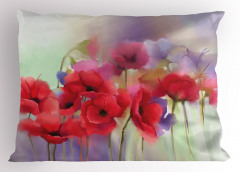 Pembe Gelincik Desenli Yastık Kılıfı Çeyizlik Çiçek