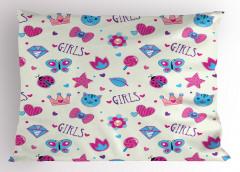 Kızlar İçin Yastık Kılıfı Pembe Mavi Kelebek Kedi