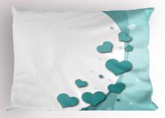 Turkuaz Kalp Desenli Yastık Kılıfı Romantik Çeyizlik