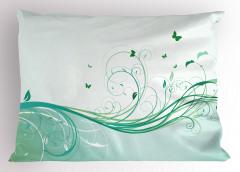 Yeşil Kelebek Desenli Yastık Kılıfı Çiçekli Çeyizlik