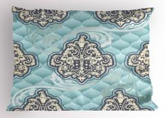 Rokoko Duvar Kâğıdı Yastık Kılıfı Mavi Fonlu
