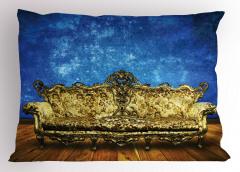 Antik Oda Temalı Yastık Kılıfı Mavi Altın Sarısı