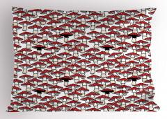 Kırmızı Mantar Desenli Yastık Kılıfı Şık Tasarım