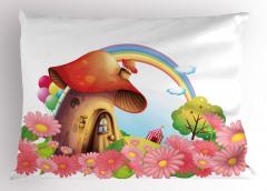 Mantar Ev ve Gökkuşağı Yastık Kılıfı Çiçekli