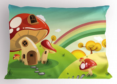 Rengarenk Yastık Kılıfı Mantar Ev ve Gökkuşağı Temalı