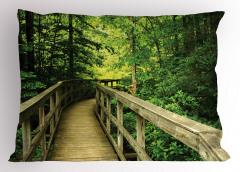 Ormandaki Ahşap Yol Yastık Kılıfı Yeşil Doğa
