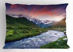 Nehir ve Karlı Dağlar Yastık Kılıfı Gökyüzü