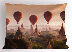 Tapınak ve Balon Temalı Yastık Kılıfı Gökyüzü Turuncu