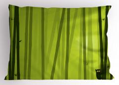 Bambu Desenli Yastık Kılıfı Kedili Çizgili Yeşil