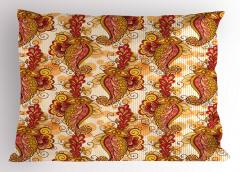 Turuncu ve Sarı Çiçek Yastık Kılıfı Şık