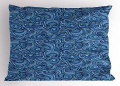 Mavi Girdap Desenli Yastık Kılıfı Etnik Dalga Trend