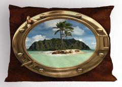 Issız Ada Temalı Yastık Kılıfı Gemi Deniz Palmiye