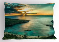 Doğada Huzur Temalı Yastık Kılıfı Gün Doğumu Deniz