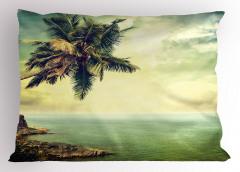 Ada Palmiye Manzaralı Yastık Kılıfı Nostaljik Deniz