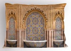 Antik Çeşme Desenli Yastık Kılıfı Arap Seramik Fas