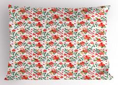 Kırmızı Çiçek Desenli Yastık Kılıfı Yaprak Şık Tasarım