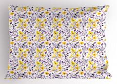 Sulu Boya Etkili Yastık Kılıfı Çiçek Desenli Çeyizlik