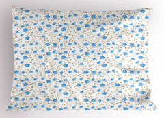 Mavi Çiçekli Yastık Kılıfı Bahar Temalı Çeyizlik Şık